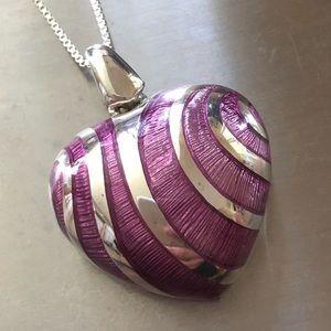 Jewelry - Sterling silver heart rare pendant pink swirl